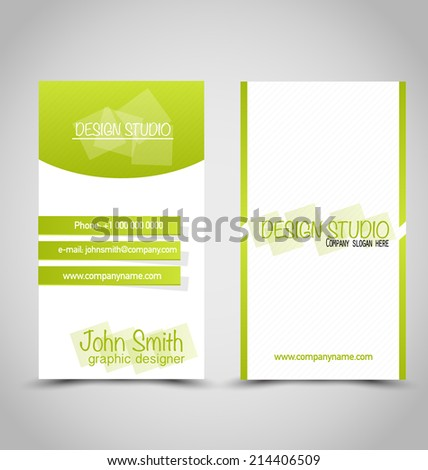Business card set template. Green and white color. Vector illustration. - stock vector