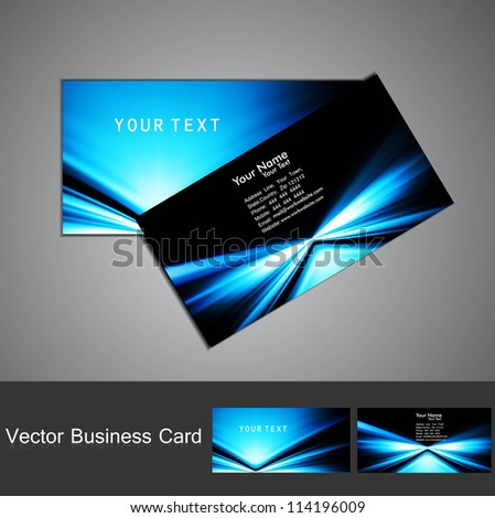 business card set vector bright  blue colorful stylish wave  design - stock vector