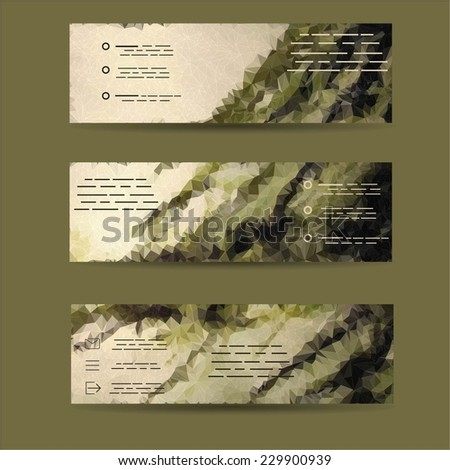 Business Card Set. Vector illustration. EPS10. Vector banners with abstract multicolored polygonal mosaic background. Modern geometric triangular pattern. Business design template.  - stock vector