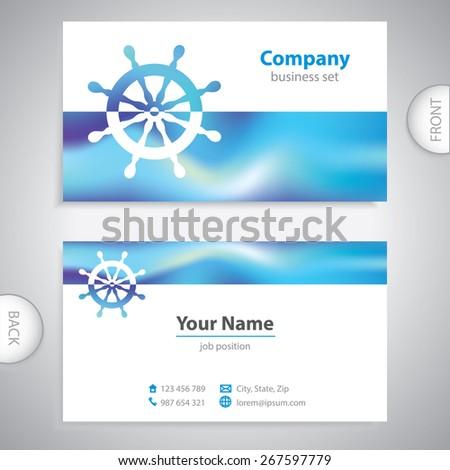 business card - steering wheel rudder - ship steering - company presentations - stock vector