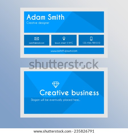Business card template - blue and light grey design