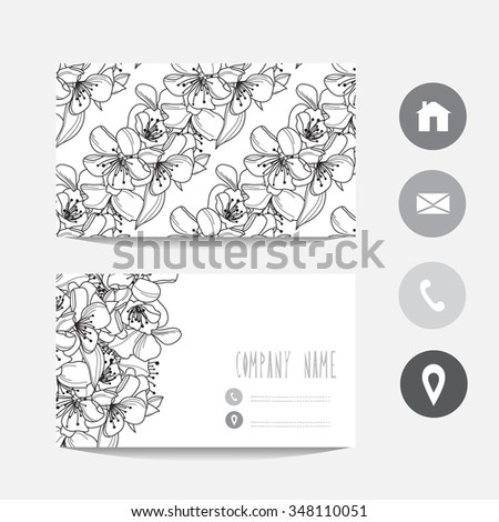 Business card template, design element. Can be used also for greeting cards, banners, invitations. Abstract cherry blossom flowers - stock vector