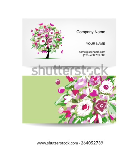 Business card template design. Floral tree. Vector illustration - stock vector