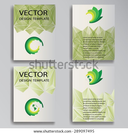 Business Card Template Designs with Logo Icons for Business Visual Identity. Abstract Triangular, Polygonal Vector Brochures, Flyers or Posters.  - stock vector