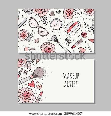 Business card template makeup artist vector stock vector 2018 business card template for a makeup artist vector layout with hand drawn flowers and makeup cheaphphosting Images