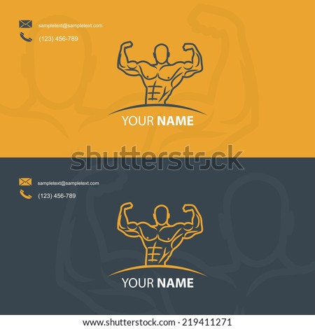 Business card template for bodybuilders - vector illustration - stock vector