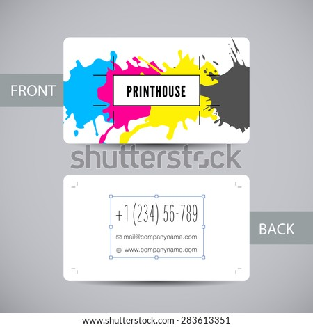 Business card template for printery with ink splashes elements in a CMYK color scheme isolated.  Vector card with colorful stains and blots for printing house branding and other design concepts - stock vector