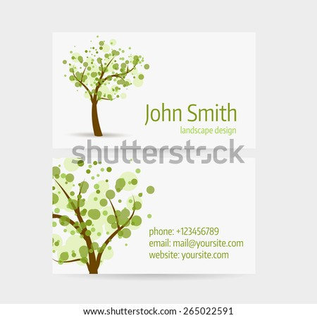 Business card template - front and back side. Abstract tree design. - stock vector