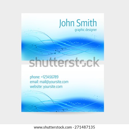 Business card template - front and back side. Blue abstract wave design.