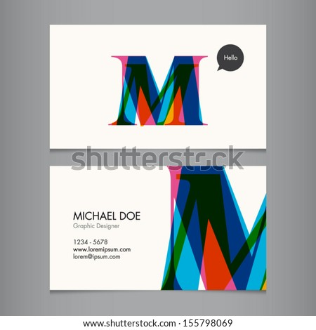 Business card template, letter M - stock vector