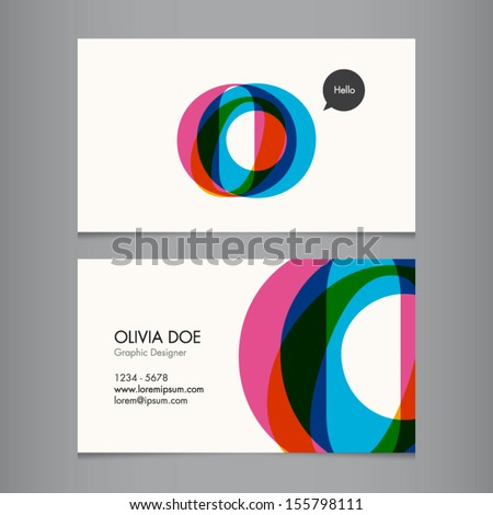 Business card template, letter O - stock vector