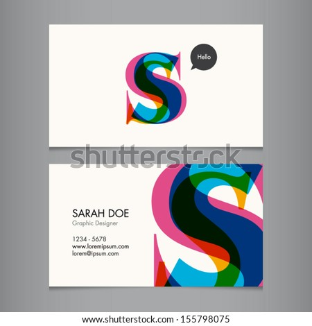 Business card template, letter S - stock vector
