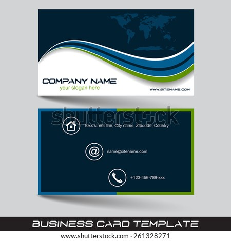 Business Card Template Visiting Card Set Stock Vector - Front and back business card template