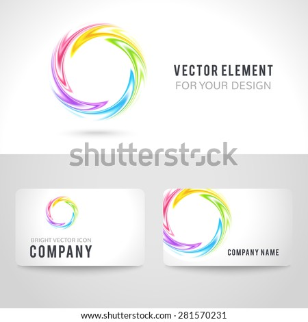Business Card Template Set Abstract Colorful Stock Vector - Circle business card template