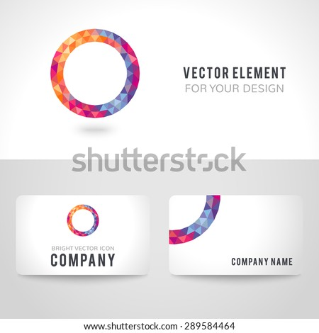 Business card template set bright picture stock vector 289584464 business card template set bright picture round frame in modern polygonal crystal style on white flashek Images
