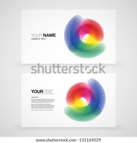 Business card template vector with colorful abstract design - stock vector