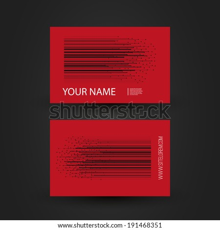 Business Card Template with Abstract Striped Background - Stars - stock vector