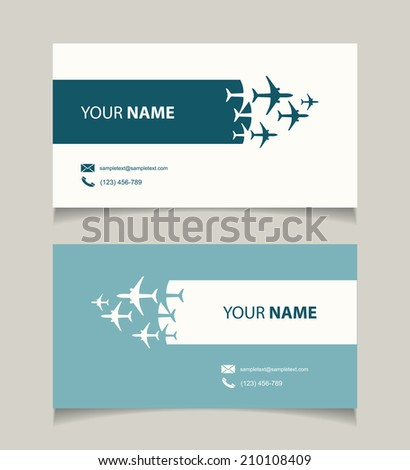 Business card template with airplanes - vector illustration - stock vector