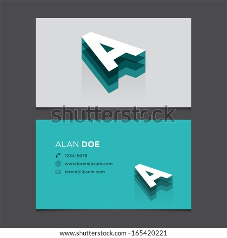 Business card template with alphabet letter A. - stock vector