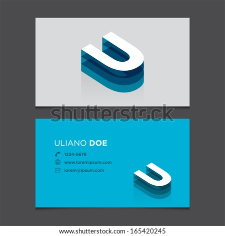 Business card template with alphabet letter U. - stock vector