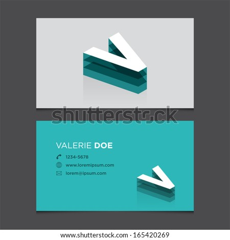 Business card template with alphabet letter V. - stock vector