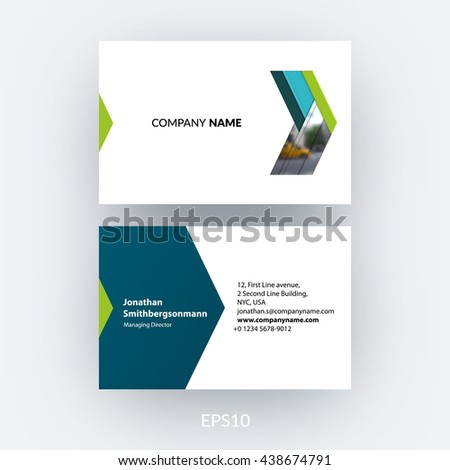 Business card template blue abstract arrow stock vector 438674791 business card template with blue abstract arrow in flat material style for business minimal reheart Gallery