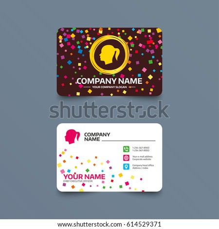 Business card template confetti pieces head stock vector 614529371 business card template with confetti pieces head sign icon female woman human head with reheart Images