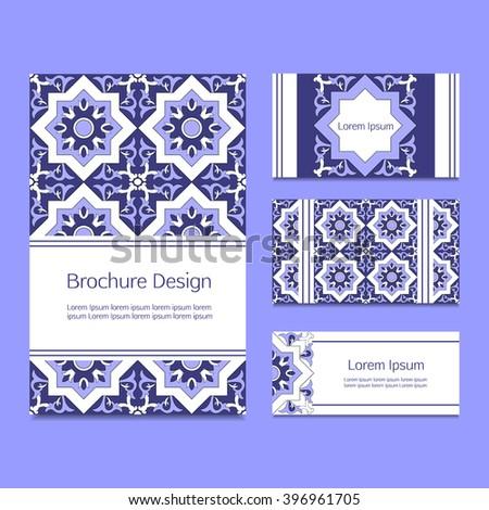 Business card template with decorative tiles ornamental elements. Islam, Arabic, Portuguese tiles azulejo, turkish, spanish or ottoman motifs. - stock vector