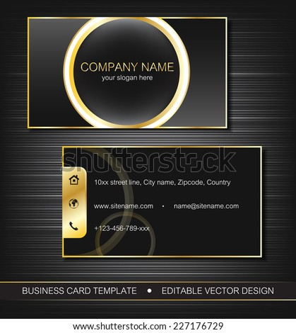 Business card template with gold lines, front and back side, vector illustration - stock vector