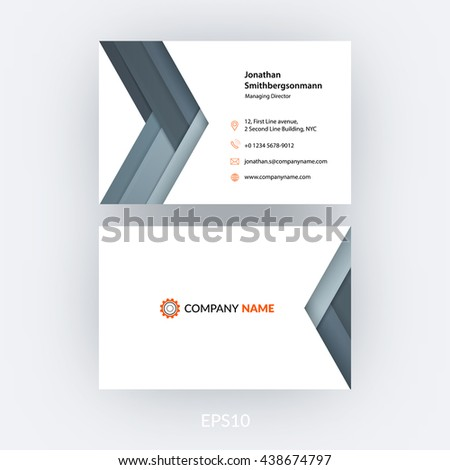 Business card template grey abstract arrow stock vector 438674797 business card template with grey abstract arrow in flat material style for business minimal reheart Gallery