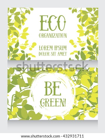 business card template with leaves decor for ecology organization, vector illustration - stock vector