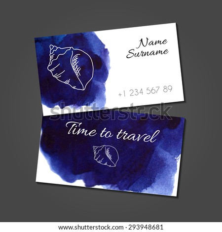 Business card template with stylized illustration of seashell on blue watercolor stain. Artistic vector design.