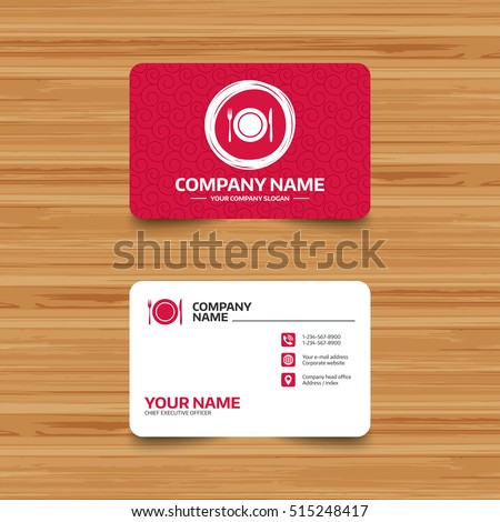 Business card template texture plate dish stock vector royalty free business card template with texture plate dish with fork and knife cutlery etiquette rules reheart Image collections