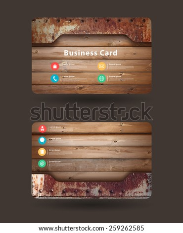 Business card template, With wood texture and old rusty metal plate design, Vector illustration  - stock vector