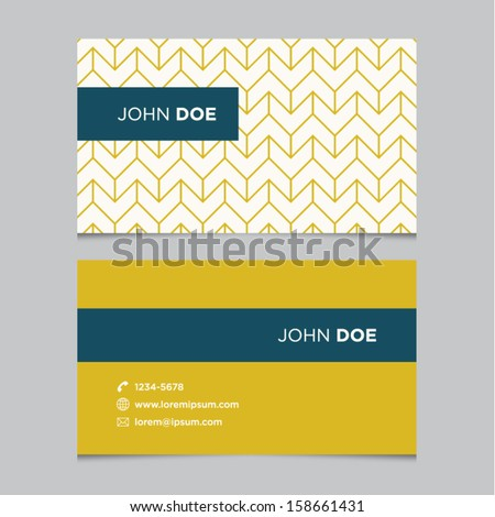 Business card template, yellow pattern vector design editable - stock vector