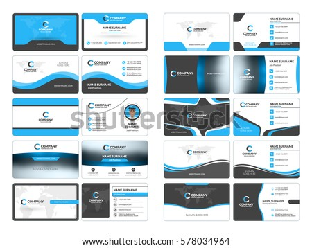 Business card templates stationery design vector stock photo photo business card templates stationery design vector set blue and black colors flat style reheart Images