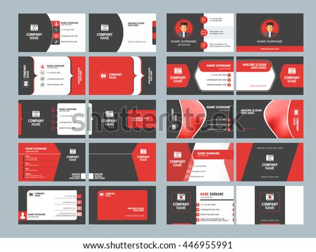 Business card templates stationery design vector stock vector business card templates stationery design vector set red and black colors flat style reheart Images