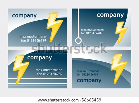 business card templates with symbolic lightning - stock vector