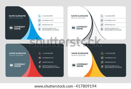 Business card vector template flat style stock vector 2018 business card vector template flat style vector illustration stationery design 4 color combinations colourmoves Choice Image