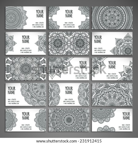 Business card. Vintage decorative elements. Hand drawn background. Islam, Arabic, Indian, ottoman motifs. - stock vector