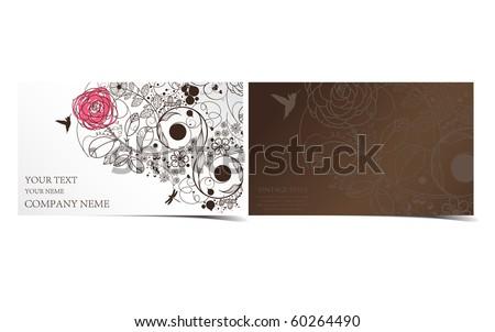 business card-vintage flower - stock vector