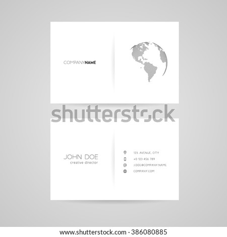 Business card with abstract dotted earth world. Vector illustration - stock vector