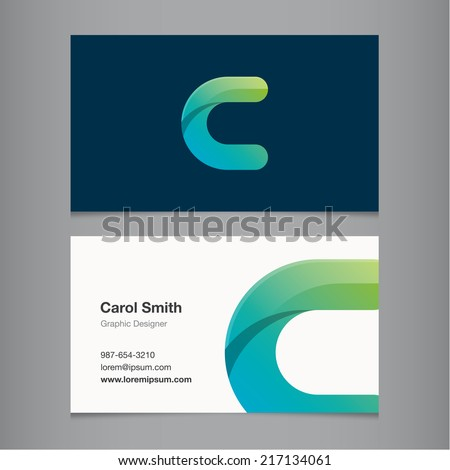 Business card with alphabet letter c. - stock vector