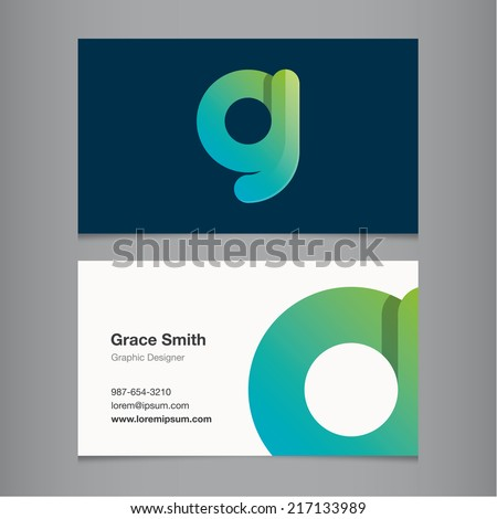 Business card with alphabet letter g. - stock vector