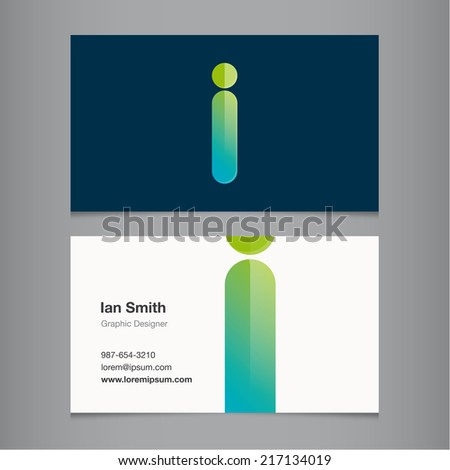 Business card with alphabet letter i. - stock vector