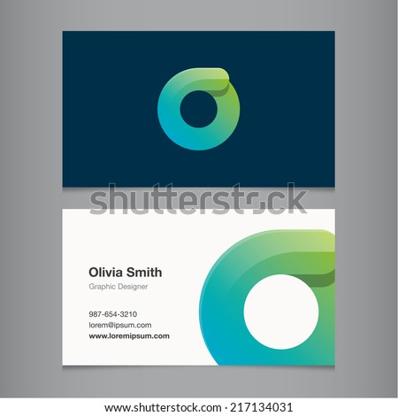 Business card with alphabet letter o. - stock vector