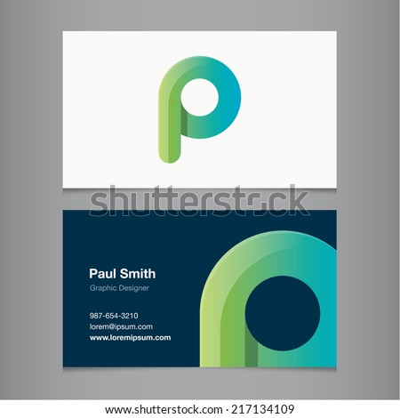 Business card with alphabet letter p. - stock vector