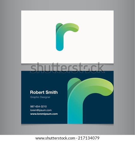 Business card with alphabet letter r. - stock vector