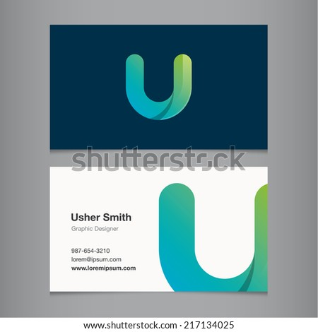 Business card with alphabet letter u. - stock vector
