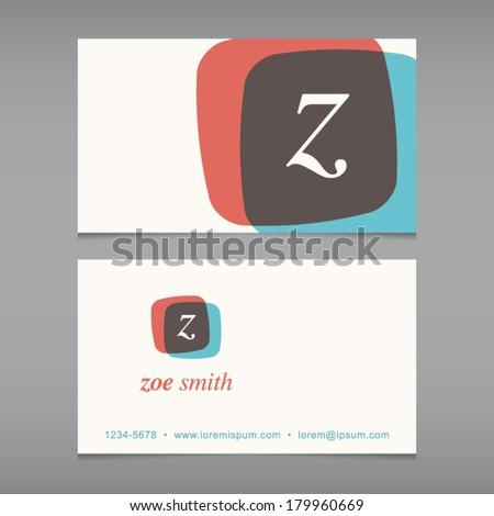 Business card with alphabet letter . Vector design template editable. Vintage design.  - stock vector